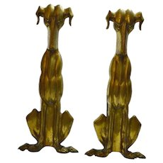 Brass Art Deco Dog Andirons c.1920's-1930's