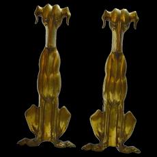 Brass Art Deco Dog Andirons c.1920's-1930's