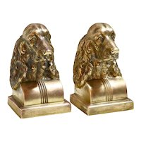 Vintage Brass Spaniel Bookends c.1950's