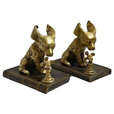 Vintage Brass Dogs with Fans Bookends
