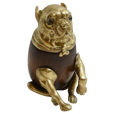 Vintage Brass and Wood Arthur Court Pug Dog Box