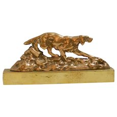 Vintage Brass Sporting Dogs, Brass Fire Dogs, Brass Mantel Dog Pair, Dog Lovers Gift