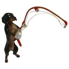 Cold Painted Vienna Bronze Dachshund Dog Fisherman