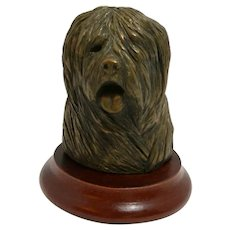 Bronze Old English Sheep Dog Head D. Gray England