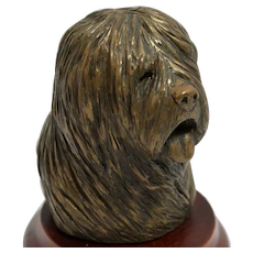 Bronze Old English Sheep Dog Head D. Gray England