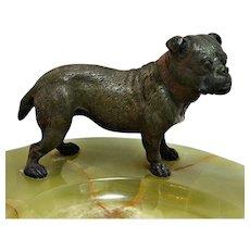 Vienna Bronze Bulldog on Large Onyx Dresser Tray c.1920's-30's
