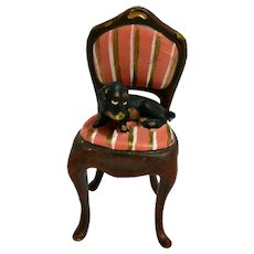 Vienna Bergmann Bronze Dachshund Puppy on Chair
