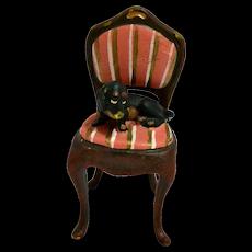 Vienna Bergmann Bronze Dachshund Puppy on Chair