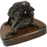 Vintage Bronze Spaniel Dog Table Lamp