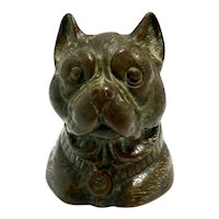 Antique Bronze Pug Dog Head Inkwell c.1880