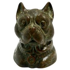 Antique Bronze Pug Dog Head Inkwell c.1880