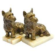 Vintage Bronze Scottish Terrier Bookends c. 1950's