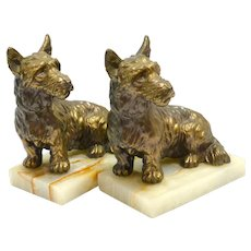 Vintage Bronze Scottish Terrier Bookends c. 1950's
