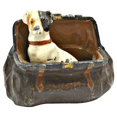 Cold Painted Bronze Jack Russel Terrier in Satchel
