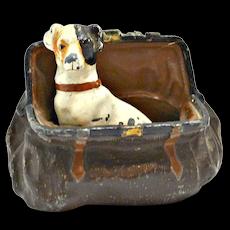 Cold Painted Bronze Jack Russel Terrier in Satchel