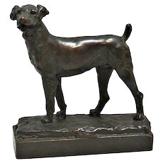 Antique Bronze Airedale Dog Sculpture P. Herzel c. 1920's