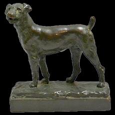 Antique Bronze Airedale Dog Sculpture P. Herzel c. 1920's