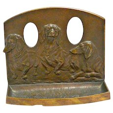 Antique Dachshund Dog Bronze Pipe Tray and Bookend c. early 1900's