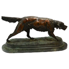 Large Bronze Jules Moigniez Sporting Dog c.1865 Signed