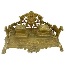 19th Century French Gilt Bronze Double Inkwells with Sporting Dogs