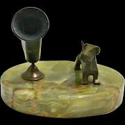 Deco Bronze Scottish Terrier Dog Pen Holder Onyx Base