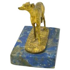 Mene Gilt Bronze Greyhound Dog Lapis Base 19th Century