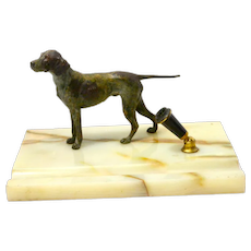 Austrian Cold-Painted Bronze Pointer Dog Desk Set Marble Base