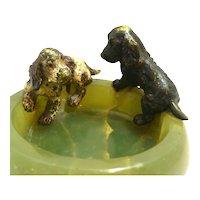 Austrian Bronze Cocker Spaniel Dog Pair on Onyx Bowl c.1900 - 1940