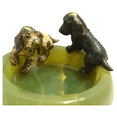 Austrian Bronze Cocker Spaniel Dog Pair on Onyx Bowl c.1900 - 1940