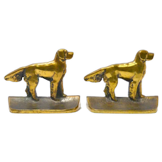 Antique Hand Cast Bronze Retriever Dog Bookends c.1920's