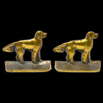 Antique Hand Cast Bronze Retriever Dog Bookends c.1920's