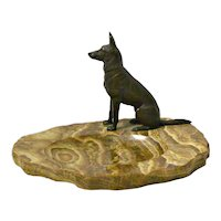 Bronze German Shepherd Dog on Marble Dish Tray c.1930