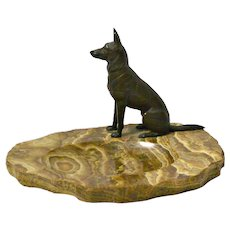 Bronze German Shepherd Dog on Marble Dish Tray c.1930