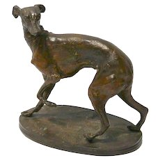 Pierre Jules Mene Animalier Bronze Sculpture of Greyhound/Whippet Dog
