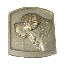 Antique Bronze St. Bernard Dog Medal c. 1911 Artist G. Devreese