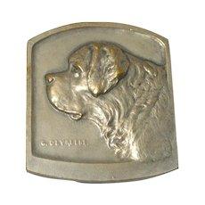 Antique Bronze St. Bernard Dog Medal c. 1911 Artist G. Devreese