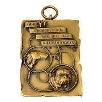 Vintage Gilded Bronze Kennel Club of Philadelphia Medal Pendant