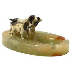 Antique Cold-Painted Austrian Bronze Spaniel Dog Group on Ashtray