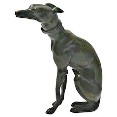 French Bronze Seated Greyhound