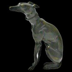 French Bronze Seated Greyhound