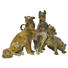 Antique Vienna Cold-Painted Bronze Four Dogs