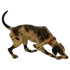 Cold Painted Bronze Pointer Dog Figurine