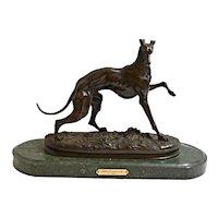 Rare French Bronze Greyhound Dog by Pierre Jules Mene