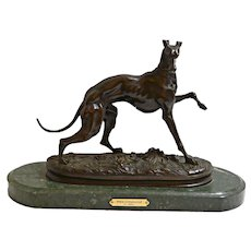 Rare French Bronze Greyhound Dog by Pierre Jules Mene