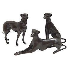 Greyhound/Whippet Matched Trio c.1960's