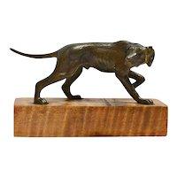 Miniature Austrian Bronze Pointer Dog on Wood Base