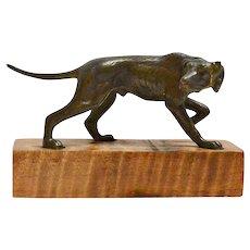 Miniature Austrian Bronze Pointer on Wood Base