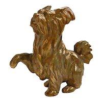 Bronze Yorkshire Terrier Dog Figurine