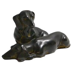 Jennings Brothers Bronze Dachshund Dog Pair