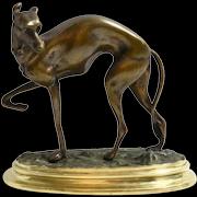 Antique Bronze Whippet Dog Figurine on Brass Base